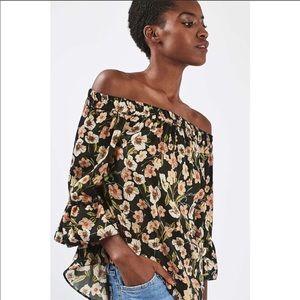 Topshop Floral Black & Brown Off the Shoulder Top